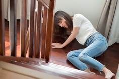 This woman who fell down the stairs was not planning for the unexpected.