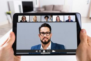 an image of screen with online meeting